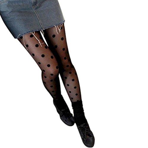 Womens Girls DDLIN Polka Dot Tights Pantyhose One Size (Big Dot Black) ()