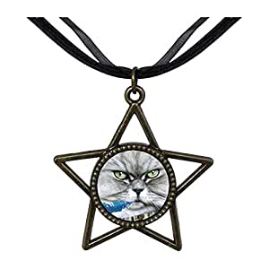 Chicforest Bronze Retro Style Bad Cat Five Pointed Star Pendant