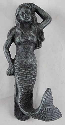 Iron Mermaid Doorknocker in Verdigris Finish (Knocker Door Mermaid)