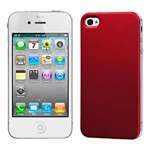 Fits Apple iPhone 4 4S Hard Plastic Snap on Cover Titanium Solid Red Back Plate AT&T, Verizon Plus A Free LCD Screen Protector (does NOT fit Apple iPhone or iPhone 3G/3GS or iPhone 5)