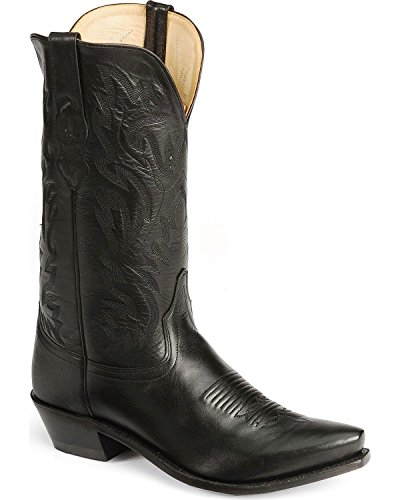 Old West Black Mens All Leather 12in Snip Toe Stitch Cowb...