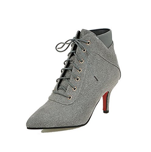 Boots Allhqfashion Heels Lace top Gray High Frosted up Women's Low Closed Toe Pointed rRqCwrP