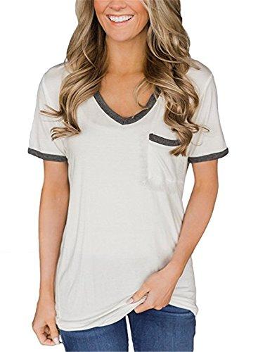 Godzgift Womens Casual V Neck Gray Trimmed Short Sleeve Pocket T-Shirts White, Large
