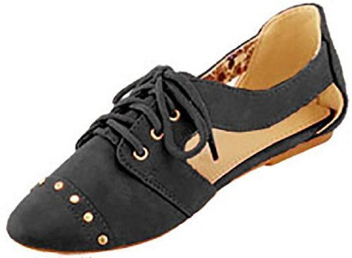 Womens Faux Leather Oxfords W/Cut Outs,Leopard Lining & Studs (7/8, Black 5002)