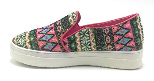 Dev Womens Breckelle Reneeze Pelle Trapuntata Multistrato Platform Slip On Sneaker Shoes Fucsia / Olga-02