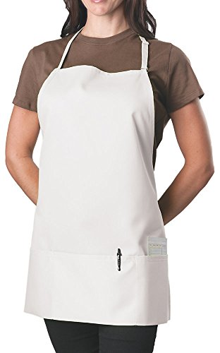 KNG Pack Of 2 - White Adjustable Bib Apron - 3 Pocket