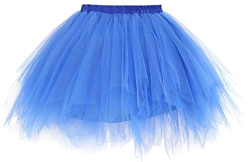 Simplicity Women's 50s Vintage Ballet Bubble Tutu Skirt Underskirt, Royal Blue - Blue Vintage Underwear