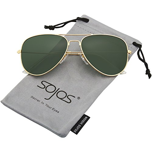 - SOJOS Classic Aviator Polarized Sunglasses Mirrored UV400 Lens SJ1054 with Gold Frame/G15 Polarized Lens