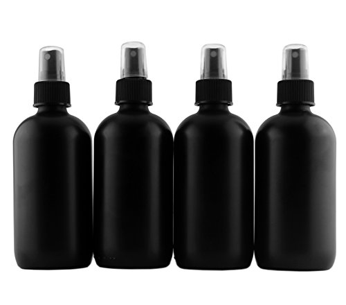 8-Ounce Black Glass Spray Bottles or Perfume Bottles (4-Pack); w/Fine Mist Atomizer Spritzers for Aromatherapy