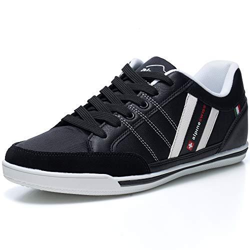 alpine swiss Mens Stefan Black Suede Trim Retro Fashion Sneakers 11 M US