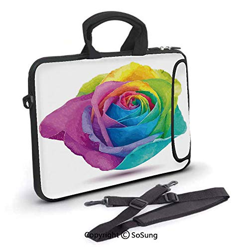 12 inch Laptop Case,Graphic Design of Futuristic Large Size Rose in Spectrum Rainbow Colors Romance Art Neoprene Laptop Shoulder Bag Sleeve Case with Handle and Carrying & External Side Pocket,for Net