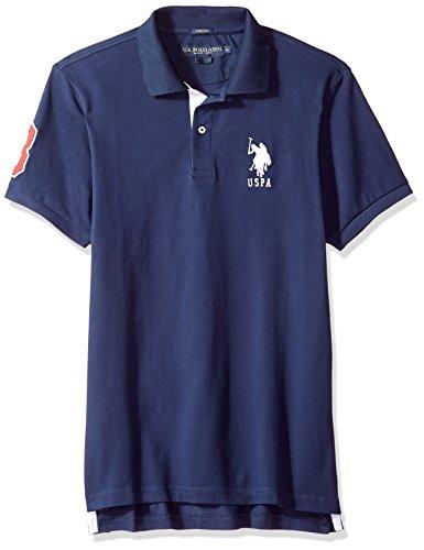 U.S. Polo Assn. Men's Short Sleeve Slim Fit Solid Pique Polo Shirt, Classic Navy KJBJ, XL