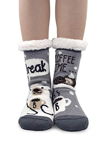 cb1be9137e7b3 Women Winter Slipper Socks Cute Animal Cozy Warm Fuzzy House Socks with  Gripper Christmas Socks