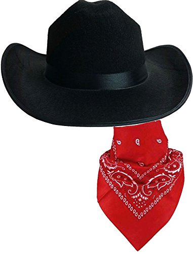 [Quality Child Cowboy Costume Hat WithFREE Cotton Paisley Bandanna - Child Black Cowgirl Hat with Cotton Red Paisley] (Halloween Costumes With Red Bandana)