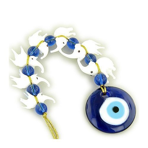 (Evil Eye Protection And Seven Lucky Elephants Glass Blessing)