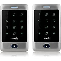 TIVDIO T-AC800 Access Control System Door Keypad Locks Touch Keypad Access Control Keypad Door Lock Outdoor 125KHz Back Light Keypad ID Support 8000 User ( 2 Pack Silver)