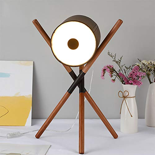 - YinVinA Bedside Table lamp,Black Tripod Table lamp, ALEC lampshade Hardware and Leather Body Ash Stand for Living Room Sofa Modern Bedroom Bedside Study Table lamp