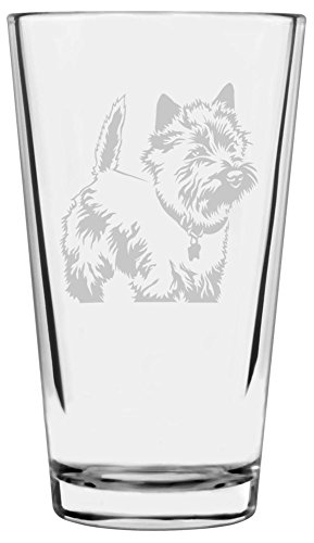 Dog Terrier Art Cairn (Cairn Terrier Dog Themed Etched All Purpose 16oz Libbey Pint Glass)