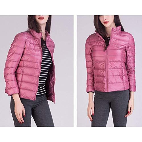 Cremallera Outwear Larga Prendas De Ropa con Exteriores Corto Invierno Manga Pink Unicolor Cómodo Pluma Solapa Mujer Abrigos Bolsillos con Moda wxvOYq4gx