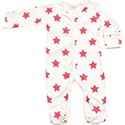 Organic Cotton Baby Clothes Long Sleeve Footie GOTS Certified (White-Red, 3-6m)