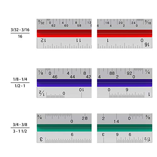Architectural Scale Ruler - 12'' Aluminum Triangular Architect Scale Ruler for Engineering Scale, Drafting Ruler, Metal Scale Ruler, Blueprint - with Imperial Measurements by Leyaron (Image #3)