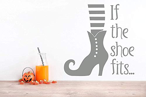 for Living Room If The Shoe Fits Witch Slipper Halloween Funny Humor for Boys Room Wall Decals Decor Vinyl Sticker Q4665]()