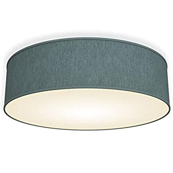 Green-Grey Fabric Flush Mount Ceiling Fitting 3 x E14 sockets Cozy Atmosphere 15,7 in Modern Light Fitting for Living Room Kitchen B.K.Licht Bedroom Ceiling Lamp Shade Dining Area