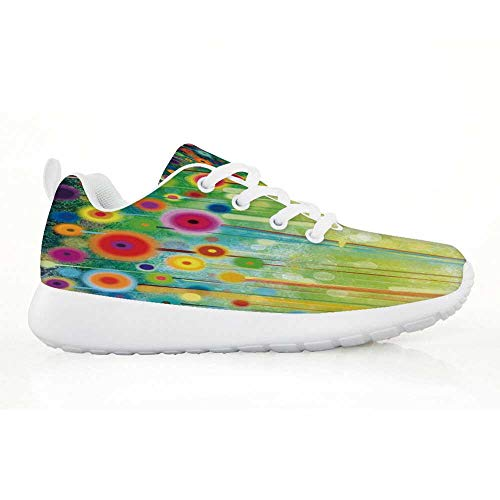 TecBillion Watercolor Flower Home Decor Comfortable Running Shoes,Abstract Dandelion Inspired Spiral Blooms Petals Nature Art Theme for Kids Boys,EU30