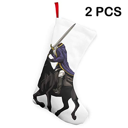 Liumong Headless Horseman Clip Horse Animated Christmas Stockings Xmas Socks Ornament Themed 12 Inch Two Piece Big Pair Design Empty Women Men Country Decorations Modern