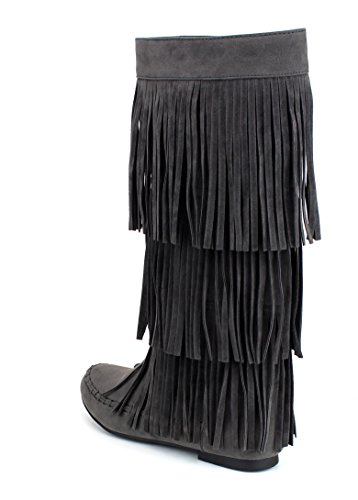 High Zipper Refresh Moccasin 02 JOLIN Grey Heel Women's Under Boots Flat Knee Fringe qaq0Hgnv