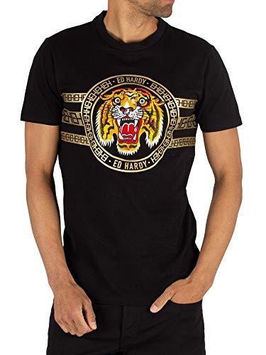 Ed Hardy Men's Tiger Stripe T-Shirt, Black, L