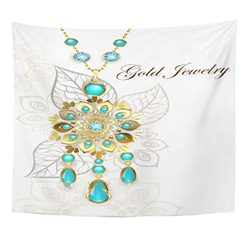 Emvency Tapestry Ethnic Gold Medallion Decorated in Oriental Style on Light Turquoise Patterned Accessories Home Decor Wall Hanging for Living Room Bedroom Dorm 50x60 Inches