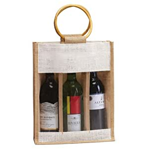 """Natural Color Jute Burlap 3 Bottle Wine Carry Bag with front window and with cane handles size 11""""W x 14"""" x 4""""Gusset - CarrygreenBags"""