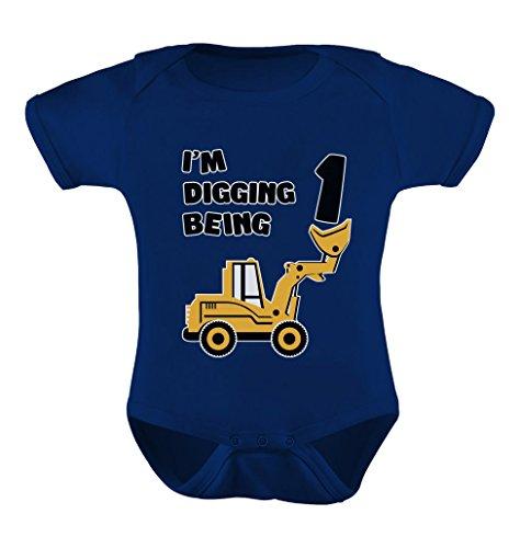 Tstars 1st Birthday Bulldozer Construction Infant Boy Baby Bodysuit 18M Navy -