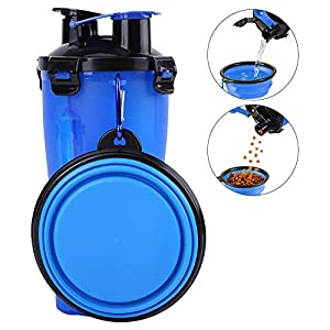 Fdit Portable 2 in 1 Water Food Feeder Bottle for Pet Dog Cat Walking The Dog Food Container (Blue) Click on image for further info.
