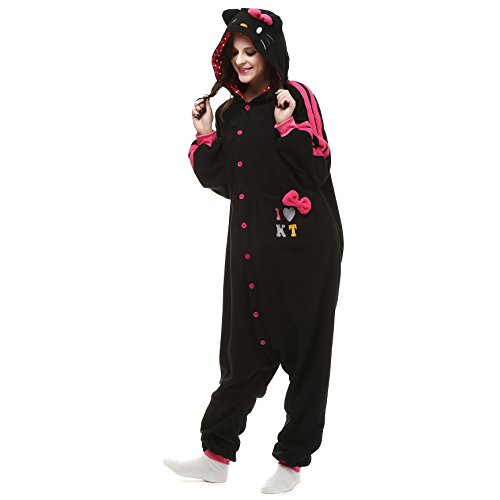 Hello Kitty Halloween Costume For Adults (VU ROUL Halloween Costume Adult Costume Kigurumi Hello Kitty Cat Onesie Pajamas Size XL Black)