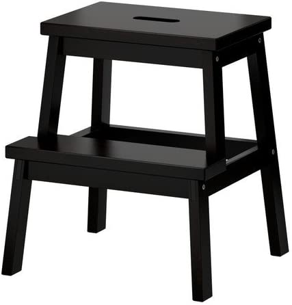 Ikea BEKVÄM - Taburete de madera de haya maciza, color negro: Amazon.es: Hogar