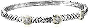 Sterling Silver and 14k Yellow Gold Diamond Station Bangle Bracelet (.18 cttw, I-J Color, I3 Clarity)