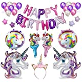 Cute Unicorn Party Supplies and Decorations Set - With Glitter Unicorn Headband Unicorn Balloons Gold Happy Birthday Banner Latex & Foil Balloons 39Piece Unicorn Theme Decor Pack