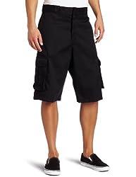 Dickies Men's Big 13 Inch Loose Fit Twill Cargo Short, Black/Black, 46