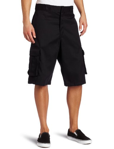 Dickies Men's 13 Inch Loose Fit Twill Cargo Short, Black, 38
