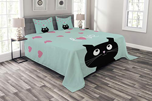 Lunarable Valentines Bedspread Set Queen Size, Kitty Heart Figures Cat Lovely Companions Kids Children Illustration, Decorative Quilted 3 Piece Coverlet Set with 2 Pillow Shams, Seafoam Black]()