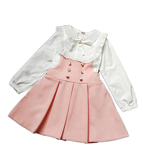 ds Girls Party Dress Sets White Long Sleeve Korean Blouse +Suspender Skirt Pink 100(3-4Y) ()