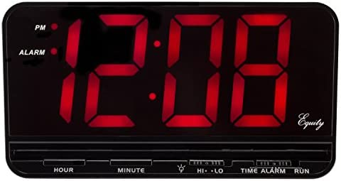 Equity by La Crosse 30401 3 Red LED Electric Alarm Clock, X-Large