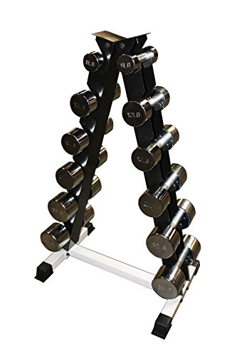 Ader Chrome Dumbbell Set- 3, 5, 8, 12, 15, 20 Pound w/ Black Rack (Picture for Reference Only)