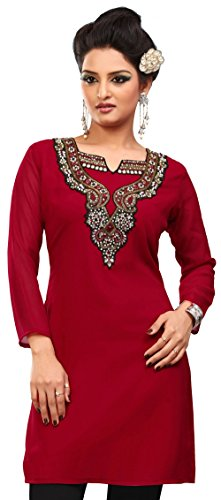 Kurti Top Long Tunic Womens Party Wear Blouse India Clothing (Red, XL)