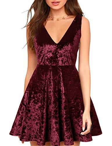 (Blooming Jelly Womens Deep V Neck Backless Mini Velvet Dress Sleeveless Black Cocktail A-Line Zipper Dresses (Large, Red))