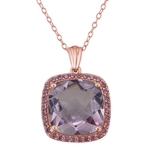 - 14mm 9ct Pink Amethyst Pendant in Rose Gold Plated Sterling Silver with Created Pink Sapphire Halo