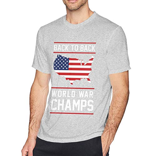 Xiaolizi Men Fashion Back to Back World War Champ Cotton Short Sleeve T-Shirt Gray L