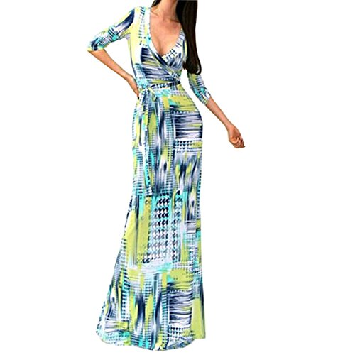SUNNOW Womens Sexy Ladies Deep V Neck Party Dress Maxi Long Evening Dress (Asian S=US(4), Yellow) - Ladies Sexy Dress